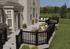 how much does a composite deck cost compared to a wood deck find out the straight answer Deck Design Tool, Deck Design Plans, Building Design Plan, Deck Plans, Building A Deck, Composite Deck Railing, Deck Railings, Black Railing, Timbertech Decking