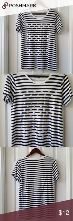 J.CREW Striped Collector Tee J.CREW Striped Collector Tee. Metallic hearts and dots on the front. Excellent condition. Length from shoulder to hem is approx 27 inches. 100% Cotton. J. Crew Factory Tops Tees - Short Sleeve