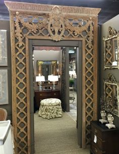 Highly carved antique French trellis, $8,500.