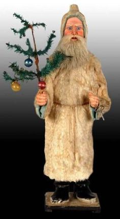 Century German, 30 inch clockwork Santa Nodder: Originally used in store window displays (late into Cent.) Now one of the most prized of all antique Christmas collectibles. Old Fashioned Christmas, Antique Christmas, Christmas Past, Vintage Christmas Ornaments, Father Christmas, Christmas Items, German Christmas, Primitive Santa, Primitive Christmas