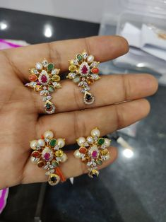 Diamond Navratan Tops Gold Earrings Designs, Necklace Designs, Ruby Bangles, Traditional Earrings, Golden Jewelry, Indian Earrings, Emerald Jewelry, India Jewelry, Latest Jewellery