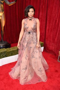 Who: Taraji P. Henson  When: January 29, 2017  Why: There are naked dresses, and then there are nakedball gowns.Taraji P. Henson owned the SAG awards in the latter, wearing Reem Acra. Her stunning princess frock and undercut hairstyle wins her best dressed of the week (an added perk to her Best Cast awardfor her filmHidden Figures).