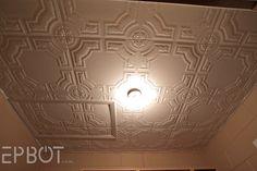 Faux tin ceiling using Styrofoam tiles