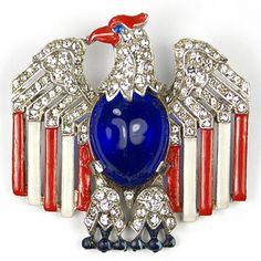 Trifari Philippe WW2 US Patriotic Stars and Stripes Cabochon Belly Eagle Pin | eBay