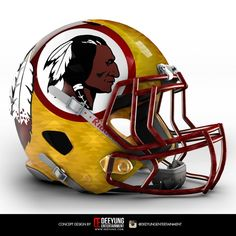 Graphic designer Dee Yung, a sports fan based in Oklahoma, has created eye-catching, unofficial concept designs for all 32 NFL helmet logos. Which of these are better than the versions teams use now, and which ones are worse? Read on for our verdict. Redskins Helmet, Cool Football Helmets, Football Helmet Design, Redskins Football, Redskins Fans, Sports Helmet, Football Team, College Football, Football Memes