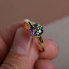 Mystic Topaz Ring Simple Rainbow Gemstone yellow by KnightJewelry