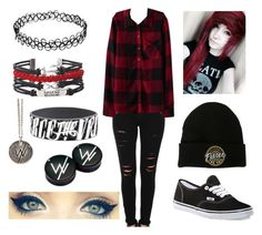 """""""Plaid Emo Party"""" by mrosep on Polyvore featuring Frame Denim, Albino and Vans"""