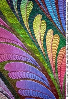 Chromatic Feathers © 2010 Art Quilt by Caryl Bryer Fallert, Paducah KY Longarm Quilting, Free Motion Quilting, Art Quilting, Quilt Art, Machine Quilting Designs, Quilting Projects, Quilting Ideas, Quilt Stitching, Applique Quilts