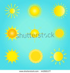 Set of the sun icons and sun logo on blue background. Sun Labels for Art, Print, web design. Vector Illustration