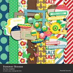 Fun and coloful perfect for hot summer days alayout, *FREEBIE* Summer Breeze Free Digital Scrapbooking Kit from Miu Creations