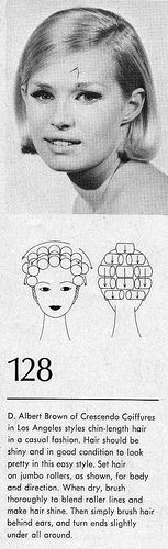 Beautiful example of rollers used to create body and direction for a fairly straight hairdo. To bad sets like this have gone out of fashion. Retro Hairstyles, Straight Hairstyles, Hair No More, 1960s Hair, Chin Length Hair, Hair Patterns, Hair Setting, Roller Set, Cool Haircuts