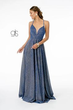 A-Line Glitter Lame Long Prom Dress | The Dress Outlet