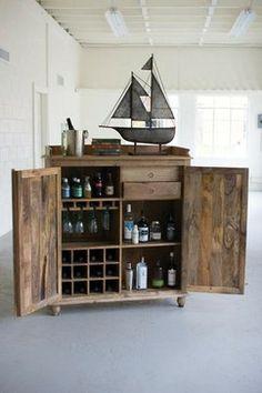 Reclaimed Wood Bar Cabinet - industrial - kitchen islands and kitchen carts - Oilfield Slang/Stella Bleu Designs