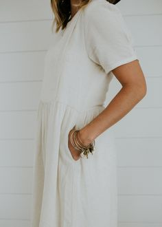 White Linen Dress with Pockets | ROOLEE