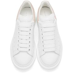 Alexander McQueen White and Pink Low-Top Sneakers (€475) ❤ liked on Polyvore featuring shoes, sneakers, white platform sneakers, perforated sneakers, leather low top sneakers, pink shoes and platform shoes