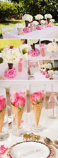 Ice Cream Themes bridal Shower | BridalPulse - Fun Ice Cream Ideas for Your Wedding Party Event | Images by Megan Edelman Photography (top 4 images); Eat Drink Chic (bottom image) | Follow @BridalPulse for more wedding inspiration