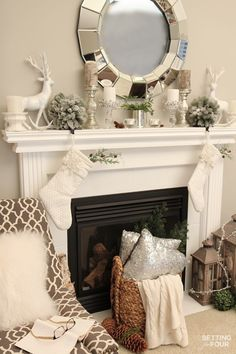 Welcome to my Woodland Chic Christmas home tour with Country Living Magazine! See my Woodland Chic Christmas mantel and get tons of decor ideas using glam, shimmer, metallics and shine mixed with lots of natural elements, woodland icons and neutrals! www.settingforfour.com