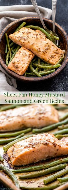 Sheet Pan Honey Mustard Salmon and Green Beans is an easy and healthy weeknight dinner. A high protein meal with the perfect balance of sweet and tangy flavors, the whole family will approve!