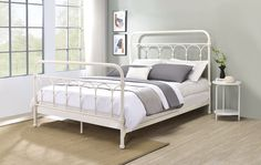 """Acme BD00131F Laurel foundry citron white finish metal full bed frame set. This set includes the full headboard with white finish, footboard and rails and 4 - slats . Bed measures 81"""" x 58"""" x 52"""" H. Some assembly required. Full Bed Frame, Full Headboard, White Gloves, White Bedding, Queen Beds, Bedroom Sets, Toddler Bed, Delivery, How To Plan"""