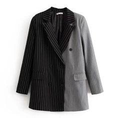 Shop Two Tone Pinstriped Blazer online. SHEIN offers Two Tone Pinstriped Blazer & more to fit your fashionable needs. Blazer Outfits, Blazer Fashion, Casual Outfits, Fashion Outfits, Casual Blazer, Casual Suit, Womens Fashion, Sports Jacket, Mens Suits