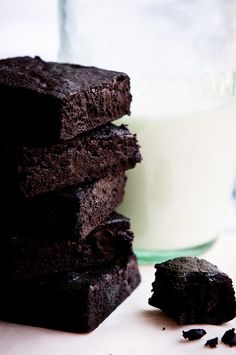 Delectable - Darkest Chocolate Brownies.    Need:  2 1/2 sticks butter (1 1/4 cups)  1 cup Dutch-processed cocoa powder  3/4 cup black cocoa powder  2 1/2 cups sugar  1/2 heaping tspn coarse salt  4 eggs  1 1/2 tspn vanilla extract  1 cup AP flour ***3-1-13 was ok, kind of like a chocolate crinkle cookie on day 2. Sprinkled powdered sugar on top.