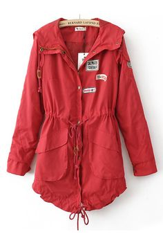 Red Hooded Drawstring Waist Pockets Trench Coat