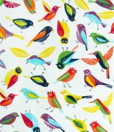 Tela Provenzal Estampado con Pájaros para Tapicería y Decoración