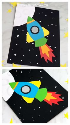 This rocket ship art project is a simple and easy project for children in preschool, kindergarten and elementary. It combines paper crafting and painting all in one and is great for outer space units!   #preschoolers #spacecrafts #kidscrafts #craftsforkids #elementary #children #artforkids #kidsart #kidsactivities #kidsactivity #easycrafts #kindergarten #teacher #preschoolers #toddlers #ece #simpleeverydaymom #steam #art #artprojects  #kidsandparenting