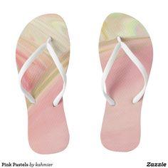 Pink Pastels Flip Flops Sale 15% off #leatherwooddesign #zazzle
