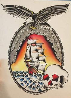 American Traditional Ship Tattoo Flash Painting