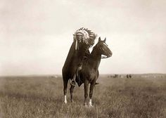 Here for your consideration is a dramatic picture of a Indian Chief. It was created in 1907 by Edward S. Curtis.    The photograph presents Sioux man on horseback in an open field.