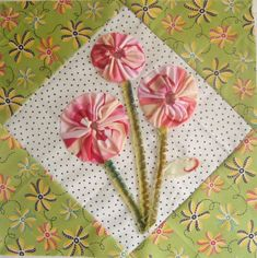 How to Applique yo-yos Spring Posies Quilt Block