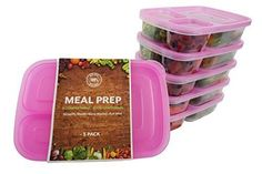 (5-Pack) TOP QUALITY, BPA FREE   3-Compartment Stackable MEAL PREP CONTAINERS + Pink Lids   Reusable Japanese Bento Lunch Box   Portion Control Food Storage   EASY OPEN LIDS   Healthy Food Prep Boxes