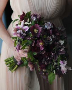 Purple Wedding Flowers Purple Wedding Bouquets with Pretty Details - photo: M. Sadler via Brides - Purple wedding bouquets are coming in hot this season with their pretty and bold details. Check out these wedding bouquets to be inspired. Purple Wedding Bouquets, Winter Wedding Flowers, Bride Bouquets, Floral Bouquets, Lilac Bouquet, Bridesmaid Bouquets, Burgundy Wedding, Bridal Flowers, Bouquet Wedding