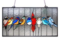 Birds Friends Stained Glass Window Panel