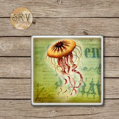 Jellyfish Drink Coasters, Under The Sea Ceramic Coaster, Orange Sea Creature Coaster, Hot and Cold Drinks, Beach Decor, Made To Order by SRVintageandDesigns on Etsy