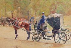 Czesław TAŃSKI (1863-1942)  Dorożki, 1903 akwarela, papier; 35,5 x 52 cm (w świetle oprawy); sygn. l. d.: C. Tański 1903 r