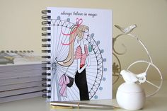A pretty London notebook with a girl and the London Eye in the background. This London journal is great for any London lover. Happy Planner Cover, Daily Planner Pages, Daily Planner Printable, Mini Happy Planner, Filofax Refills, Arc Planner, London Souvenirs, Beautiful London, Believe In Magic