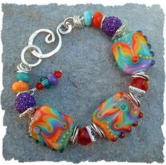 Color Me Happy - A new Artisan Lampwork Bead Bracelet I made. Available on our website. www.javabead.com
