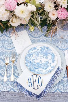 Seating Ideas Wedding Book, Home Wedding, Fall Wedding, Watercolor Invitations, Invitation Paper, Blue And White Dinnerware, Custom Napkins, Wedding Place Settings, Wax Flowers