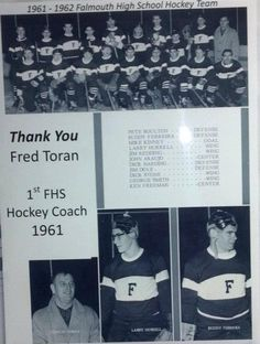 Coach Toran. The first hockey coach with his 1st team featuring, among others, Buddy Ferreira and Dickie Stone.