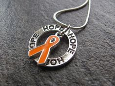 Leukemia Cancer Ribbon Necklace: Ring of Hope Necklace with Orange Ribbon-MS, Kidney Cancer Awareness