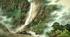 (North Korea) Nine dragon waterfalls in Mt Geumgang by Song Hyo-jun (1949- )