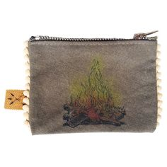 "Campfire Coin Purse by All Souls Mercantile. Handcrafted from recycled military surplus.  Mini pom poms. Individually hand airbrushed. 4 1/2"" x 3 1/4"". $15"