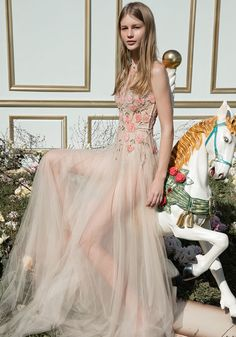 Dana Harel 2018 Collection: The Up-and-coming Bridal Designer - We LOVE this whimsical dress with floral blush pink appliques and a barely there skirt! Check out the collection on Wedding Ideas today - you might find your dream dress! Wedding Dresses Photos, Wedding Dress Trends, Gorgeous Wedding Dress, Bridal Wedding Dresses, Dream Wedding Dresses, Bridal Style, 2017 Wedding, Couture Wedding Gowns, Special Dresses
