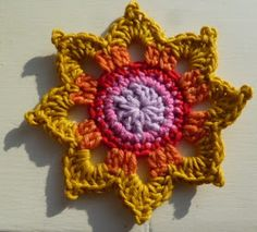 WEEK 8 FLOWER PATTERN   USA Terms, DK and a 4mm hook    Ch 3, sl st, into a  circle...col 1      R1: 12 dc into  circle, sl st to comple...