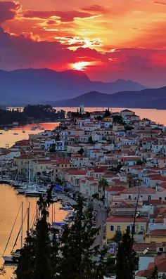 Sunset, the island of Poros, Greece. If you get to Athens - do the 3 island day trip - Aegina, Poros, Hydra. Dream Vacations, Vacation Spots, Vacation Rentals, Romantic Vacations, Vacation Villas, Romantic Travel, Places To Travel, Places To See, Travel Destinations