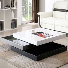 This cocktail table is an instant upgrade to your living room interior with fine craftsmanship. Features: - The stationary base and two manually adjustable levels above that swivel 360 degrees. - Midd