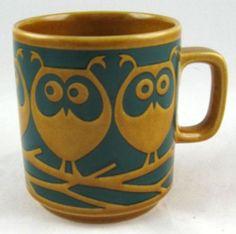 Vintage John Clappison Owls Mug Hornsea England 1974 Hornsea Pottery, Pottery Mugs, Crazy Owl, Portmeirion Pottery, Owl Kitchen, Cute Teapot, Owl Mug, Pretty Mugs, Brown Teal