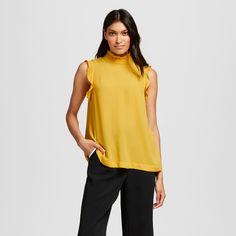 Women's Ruffle Trim Shell Yellow Xxl - Who What Wear